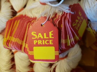 Red Yellow Sale Price Strung Merchandise Price Tags Retail String Hang Coupon