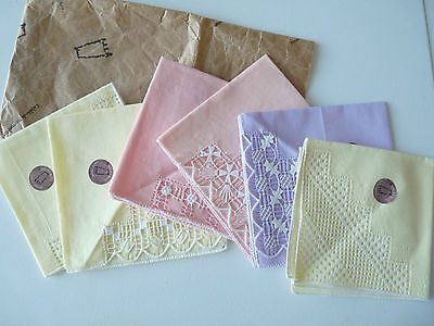 LADIES COTTON HANDKERCHIEFS 6 WITH LACE FINISHING FROM FUERTEVENTURA