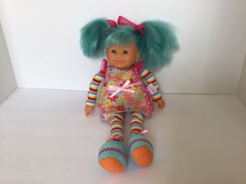 2005 Corolle Doll Teal Hair Flower Dress Cute Pink Bows Grey Eyes - $18.99
