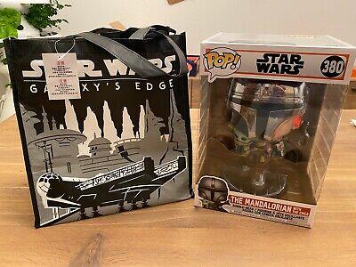 "New Funko 10"" POP 380 Star Wars Mandalorian Chrome The Child & Disneyland Bag"