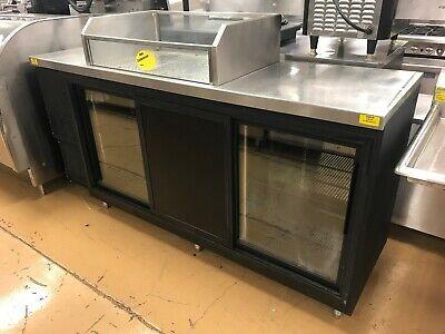 84 Back Bar Cooler W Sliding Doors And Ice Well Top - Glastender