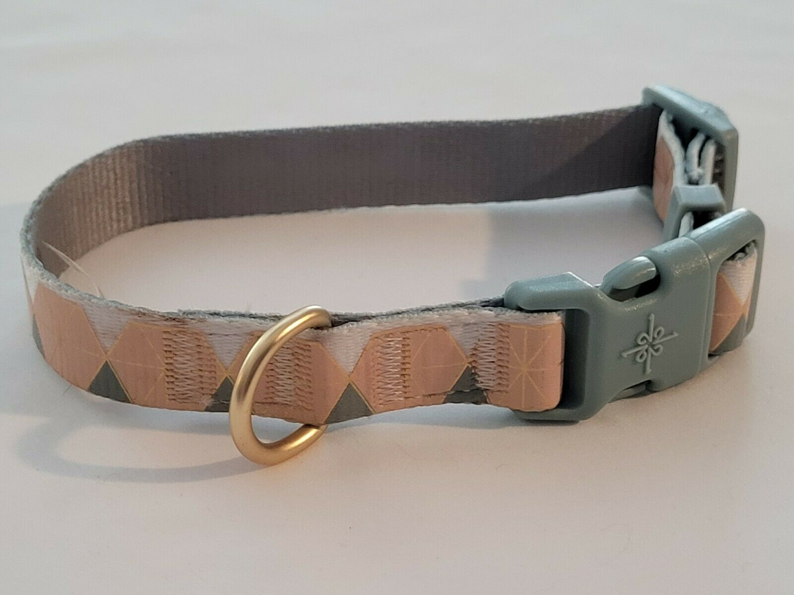Dog Collar New, Color Peach With Blue/Green, Max Length 14in, 3/4in Wide, Small - $10.00