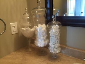 Set of 3 Beautiful Glass Containers