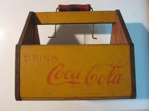 COCA COLA 6 PACK BOTTLE WOODEN YELLOW CARRIER VINTAGE DRINK COCA COLA  1940