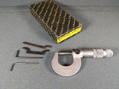 Brown Sharpe Outside Micrometer 0-1 No.1 .0001 Swiss Made Carbide Faced