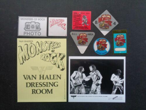 VAN HALEN,Original Promo photo,7 OTTO Backstage passes,door sign,Monsters tour