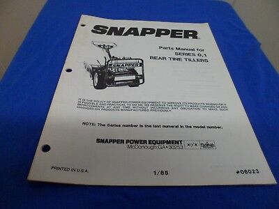 Drawer 25 Snapper Rear Tine Tillers Parts Manual Series 0 1 06023