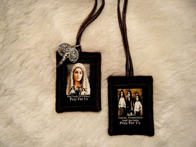 Our Lady of Fatima Brown Scapular Quality Hand Made 100% Wool