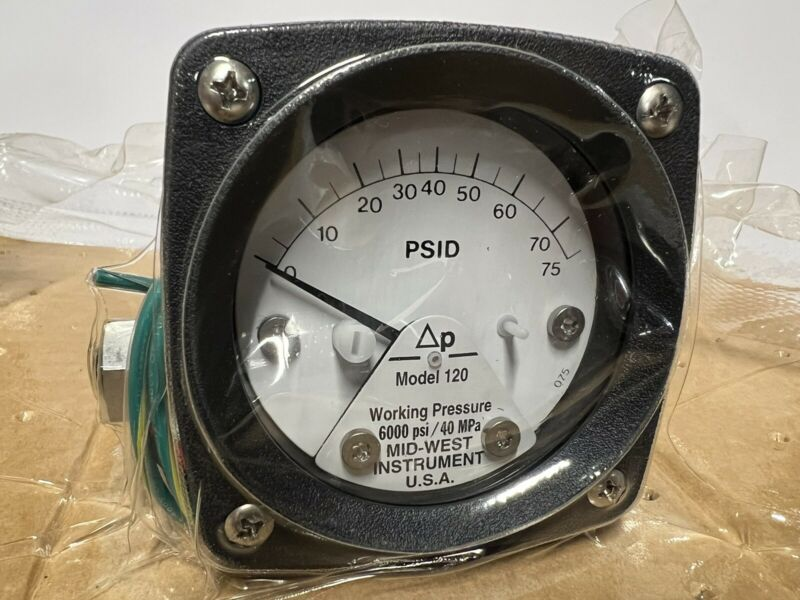 MIDWEST INSTRUMENT 120AA-00-O(CA) Differential Pressure Gauge,0 to 75 psid