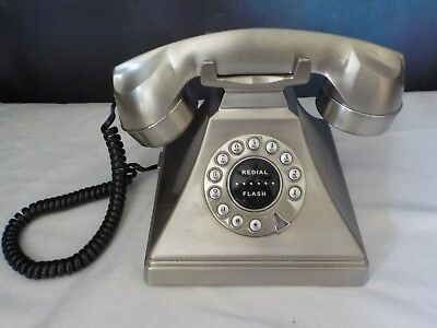 Vintage Silver Retro Desk Phone Rotary Push Button Digital Brushed Chrome -Works