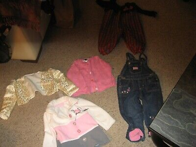 LOT OF 5 LITTLE GIRLS COAT/JEANS/SWEATER/XMAS OUTFIT SIZES 18 MONTHS