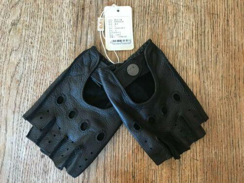 Mens Elma Black Deerskin Leather Half Finger Driving Gloves, US Size Large NWT