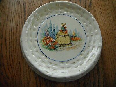 Vintage Large Art Deco Crinoline Lady L & Sons Ltd Hanley Cake/Bread Plate.