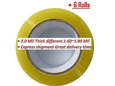 6 Rolls Clear Packing Packaging Carton Sealing Tape 2.0 Mil Thick 2 X 110 Yards