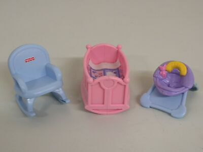 J0324 Baby Room Crib Rocker My First Dollhouse Fisher Price People Furniture Lot