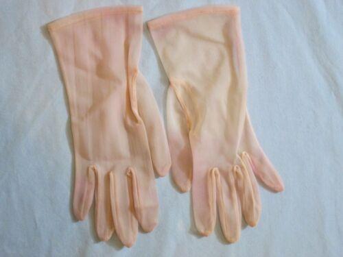 Vintage Ladies Fancy Sheer Gloves Party Bridal Costume Medium Blush Pink Nylon