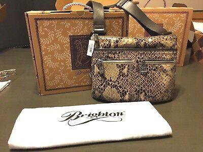 Zoe Handbag Purse - NWT Brighton Zoe Python Snake Leather Handbag Shoulder Crossbody PURSE W/BOX