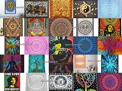 Multi Colour Cotton Wall Hanging Poster Tapestry Hippie Bohemian Boho Mandala UK