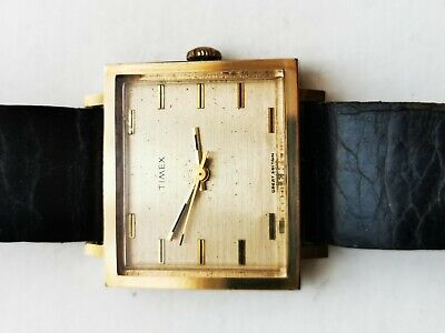 Very Unusual Mens Vintage Timex Square Case Watch. 1970. Working