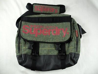 Superdry Black Label Green / Plaid Cross Body Messenger Bag Great Condition!!