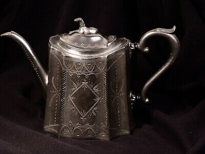 Antique Warranted Best Britannia Pewter Metal teapot; Sheffield, J Dixon?