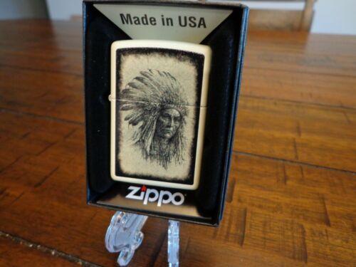 NATIVE AMERICAN CHIEF HEADDRESS INDIAN CREAM MATTE ZIPPO LIGHTER MINT IN BOX