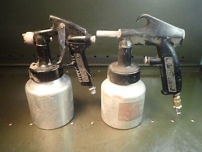 2 Piece Lot Of Campbell-hausfield Hvlp Paint Sprayer Guns W Aluminum Quart Pots
