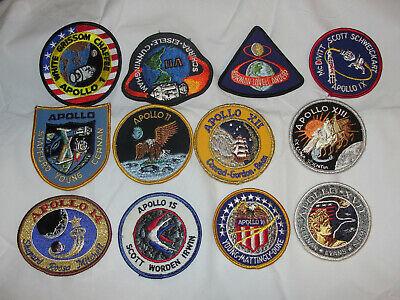 12 NASA Apollo 1 7-17 Mission Patches Complete Set