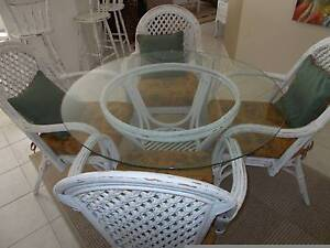 5-piece white cane dining set with cushioned chairs and glass top Prestons Liverpool Area Preview