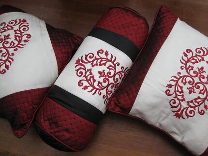 Two Cushions and Matching Bolster- Removable Cover on Bolster