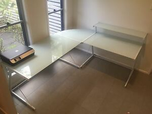 Large Modern Glass & Metal Corner Desk | Three Ways to Assemble Kelvin Grove Brisbane North West Preview