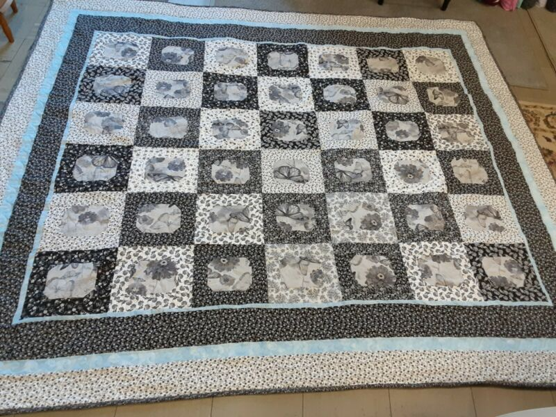 HANDMADE BLACK WHITE GREY AND A HINT OF BLUE PIECED QUILT PROFESSIONALLY QUILTED