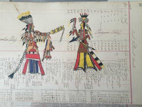 Original Native American Ledger Drawing - Lakota Sioux - 1904 -
