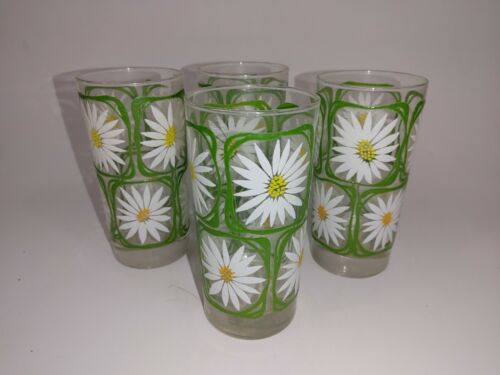 """Vintage Libbey White Daisy Flower Power Puffy Paint Glass 5.5"""" Tumblers Set of 4"""