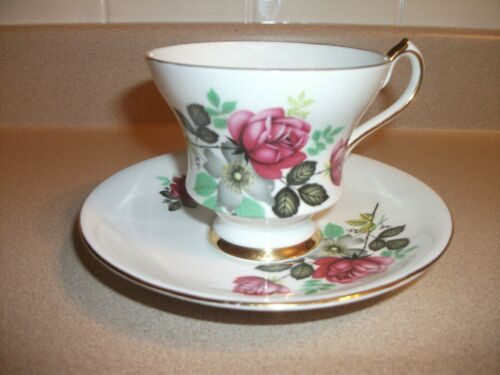 VINTAGE ROYAL VICTORIA CUP&SAUCER FINE BONE CHINA, FLORAL, DISPLAYED ONLY