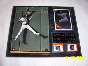Austin Jackson 5 x 7 Photo and 1 Autographed Rookie (RC) Card 8 x 10 Wall Plaque