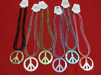 Peace Sign Glasses (Multi-Strand Glass Seed Bead Genuine Shell Charm Peace Sign Necklace 17.5