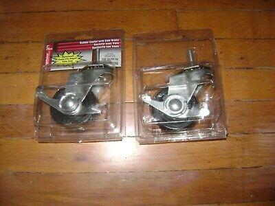 Lot Of 2 Shepherd 3 Rubber Metal Threaded Stem Side Brake Caster Wheel 9496
