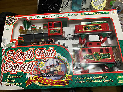 North Pole Express Christmas Train Set Musical Locomotive Tender Caboose 22 Pc