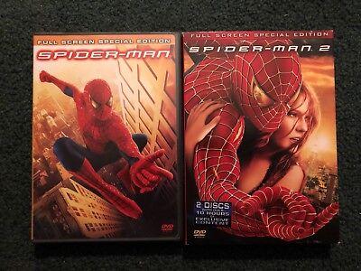 SPIDER-MAN & SPIDER-MAN 2 Movie DVDs Tobey Maguire Kiersten Dunst [Full