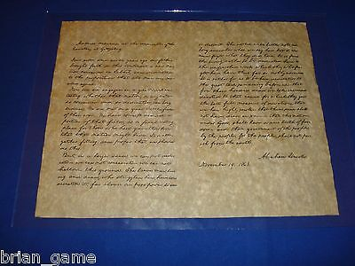Lincoln's Gettysburg Address 1863 Replica Copy, Ships rolled in Tube