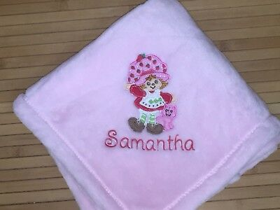Embroidered Personalized Vintage Strawberry Shortcake Baby Blanket](Personalized Baby Stuff)