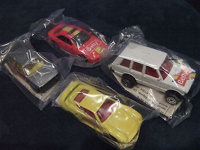 1991 Hot Wheels Getty Oil Promo  4 Cars Range Rover Porsche Bmw Vw Golf Nos New