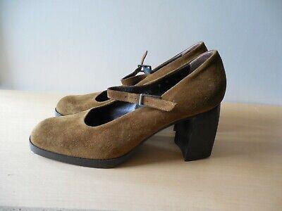 Ladies, Joan David, Handmade, Brown, Suede Leather, High Block Heel Shoes, UK 7