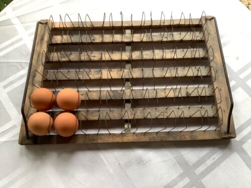 Antique Wooden & Wire Counter Top Egg Rack - Holder Perfect For Your Fresh Eggs