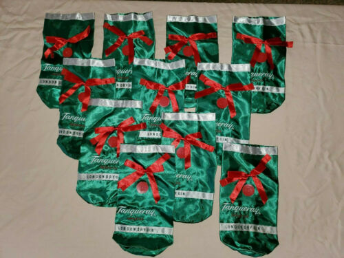 Lot Of 11 Tanqueray Bottle Bags ~ Green Satin w/Rubber Tag