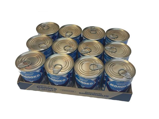 Gezuckertes Kondensmilch 8% Fett, Сгущённое молоко 8% жирности 12 Stück