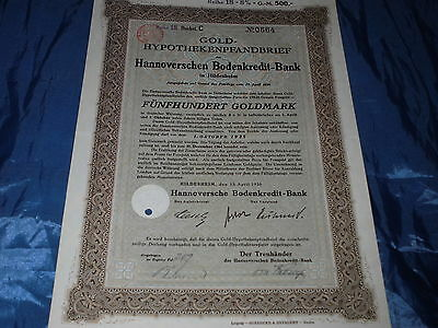 15:histor.Wertpapier ,Bodenkredit Bank Hannover , Hildesheim 1930 ,500 Gold Mark
