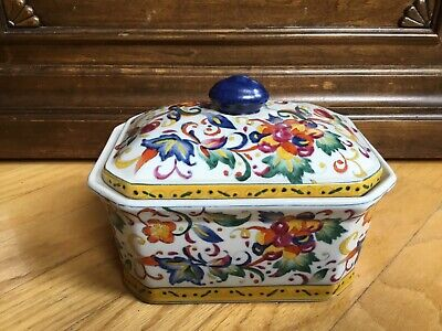 Oriental Accents Hand Painted Brightly Colored Flowers Covered Dish Trinket Box