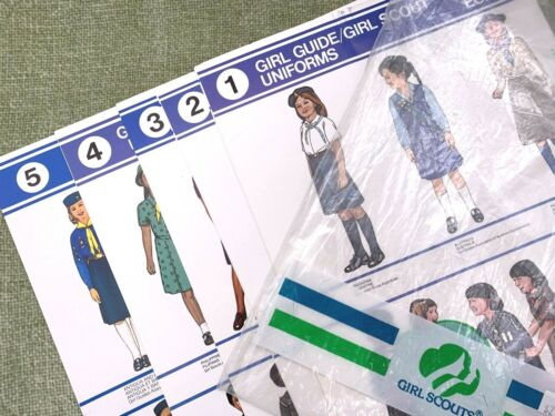 Set of 5 Girl Scout & Guide Uniform Posters 1984 Good Condition